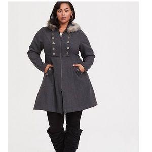 Torrid NWOT outlander faux fur trim swing coat